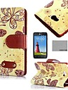 COCO FUN® Yellow Butterfly Pattern PU Leather Case with Screen Protector, Stylus and Stand for LG L80