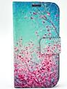 Для Кейс для  Samsung Galaxy Бумажник для карт / со стендом / Флип / С узором Кейс для Чехол Кейс для Цветы Искусственная кожа Samsung S4