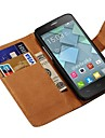 Genuine Leather Full Body Case with Card Slot for Alcatel One Touch Idol Mini