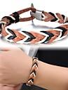 кожаный цвет линии тканые мужской браслет