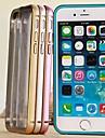 Для Кейс для iPhone 6 / Кейс для iPhone 6 Plus Защита от удара / Прозрачный Кейс для Задняя крышка Кейс для Один цвет Твердый Металл