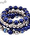 Lureme®Gold Plated Bead Bracelet Set (Assorted Colors)