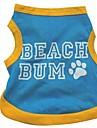 Chat Chien Tee-shirt Vetements pour Chien Lettre et chiffre Bleu Coton Costume Pour les animaux domestiques Ete