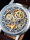 Per uomo Orologio da polso orologio meccanico Carica automatica Orologi con incisioni Nottilucente PU Banda Fantastico Di lusso Marrone