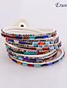 charme cuir braceletseruner®multilayer bracelet en cuir multicolore en strass (blanc)