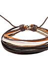 Multi Layers Men's Leather Wrap Bracelet With Multicolor Rope (1 Piece)