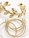 Exquisite Multi Circle Ring and Leaves Opening Joint Ring 2pc/set