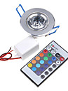 Lampada de Teto Luminaria de Painel Encaixe Embutido 1 leds LED Integrado 200-250lm RGB 1K Controle Remoto AC 85-265