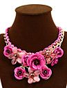Women\'s Statement Necklaces Flower Rose Synthetic Gemstones Alloy Festival/Holiday European Statement Jewelry Plaited Jewelry For Party
