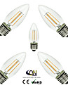 ONDENN 5pcs 2800-3200 lm E26/E27 LED필라멘트 전구 C35 4 LED가 COB 밝기조절가능 따뜻한 화이트 AC 110-130V AC 220-240V