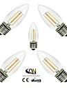 ONDENN 5 шт. 2800-3200 lm E26/E27 LED лампы накаливания C35 4 светодиоды COB Диммируемая Тёплый белый AC 110-130 В AC 220-240V