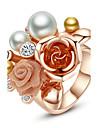 Damskie Pierścień oświadczenia - Perła, Pozłacany, Stop Kwiat Duże, damska, Moda Biżuteria Na Impreza Jeden rozmiar