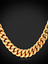 Men\'s Gold Plated Choker Necklace Chain Necklace Collar Necklace - Fashion Gold Necklace For Wedding Party Daily Casual