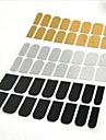 48pcs Manicure Sticker Decal Gold Silver Black Metal Sticking