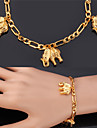 U7® Figaro Chains Elephants Charms Bracelets 18K Real Gold Plated Fashion Jewelry Bangle For Women Men Christmas Gifts