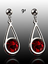 European And American Fashion Colored Gemstone Earrings Drop Earrings Wedding/Party/Daily/Casual 2pcs
