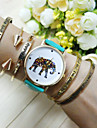 여성용 팔찌 시계 패션 시계 석영 캐쥬얼 시계 PU 밴드 참 블루 레드 핑크