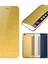 Capinha Para Apple iPhone 8 Plus iPhone 6 iPhone 6 Plus Galvanizado Espelho Flip Capa Proteção Completa Côr Sólida Rígida PU Leather para
