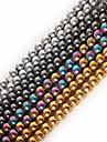 Bijoux bricolage 1 Str(Approx 100Pcs) pcs Pierre Noir Argent Dore M Forme Ronde Perle DIY Bracelet Colliers Tendance