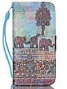 아이폰 5C를위한 코끼리 패턴 PU 가죽 소재 플립 카드 전화 케이스