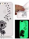 Capinha Para iPhone 5 Apple iPhone X iPhone X iPhone 8 Capinha iPhone 5 Brilha no Escuro Capa traseira dandelion Macia TPU para iPhone X
