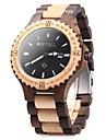 Men\'s Wrist watch Wood Watch Quartz Japanese Quartz Wood Band Vintage Black Brown
