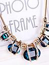 Női Zafír Kristály Partedli nyakláncok Nyilatkozat nyakláncok Kristály Hamis gyémánt hölgyek Európai Fesztivál / ünnepek Kék Képernyő Szín Sötétzöld Nyakláncok Ékszerek Kompatibilitás Parti
