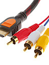 1.5M 5FT  V1.3 Male to 3RCA Male Video Audio AV Cable