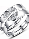 Couple\'s Couple Rings - Sterling Silver Fashion Adjustable Silver For Wedding / Party / Daily / Zircon