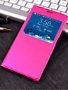 Кейс для Назначение SSamsung Galaxy Кейс для  Samsung Galaxy с окошком Флип Чехол Сплошной цвет Кожа PU для S6