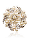Women\'s - Imitation Pearl, Rhinestone, Silver Plated Fashion Brooch White For Party / Casual
