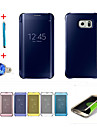 Case For Samsung Galaxy Auto Sleep / Wake Plating Mirror Flip Full Body Cases Solid Color Hard PC for S6 edge plus S6 edge S6 S5