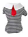 Chat Chien Tee-shirt Vetements pour Chien Mode Bande Noir Rouge