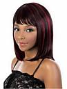 Femme Perruque Synthetique Sans bonnet Mi Longue Raide Rouge Noir mixte Perruque Halloween Perruque de carnaval Perruque Deguisement