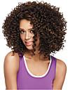 Synthetische Peruecken Locken Synthetische Haare Afro-amerikanische Peruecke Peruecke Damen Mittlerer Laenge Kappenlos Hellbraun