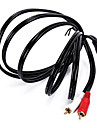 1.8M 6Ft Length 3.5mm Stereo Plug Male to 2 RCA Male Audio Jack Extension Cable