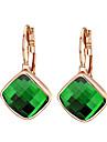 Mulheres Cristal Zirconia Cubica Brincos Compridos - Laranja Verde Forma Geometrica Brincos Para
