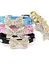 Cat Dog Collar Adjustable / Retractable Rhinestone Bowknot PU Leather Black Blue Pink Golden