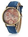Dames Modieus horloge Dress horloge Kwarts PU Band Vintage World Map Patroon Zwart Wit Blauw Rood Groen Geel