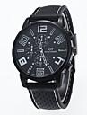 Men\'s Quartz Wrist Watch Casual Watch Silicone Band Charm Black