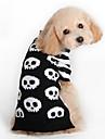 Kot Psy Sweter Ubrania dla psów Czaszka Czarny Wełniany Kostium Na Zima Męskie Damskie Moda Halloween