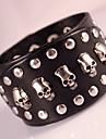 Homme Bracelets Bracelets en cuir Mode Boheme Adorable Fait a la main bijoux de fantaisie Cuir Forme Geometrique Forme de Tete de Mort
