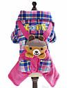 Chien Combinaison-pantalon Vetements pour Chien Tartan Britannique Animal Bleu Rose Polaire Coton Costume Pour les animaux domestiques