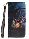 Painted Owl Pattern Card Can Lanyard PU Phone Case For Samsung Galaxy S5 S6 S7 edge Plus