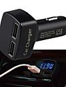 מטען לרכב USB כפול רב תכליתי עם תצוגת טמפרטורת מתח Amper