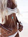 Women\'s Body Jewelry Harness Necklace Body Chain Resin Turquoise Alloy Silver Golden Triangle Geometric Crossover Bikini Double-layer