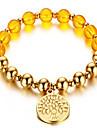 Perle en cristal jaune bracelet en or 8mm tags style feminin classique