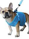 고양이 강아지 하니스 가죽끈 조절 가능 / 리트랙터블 통기성 안전 솔리드 메쉬 블랙 퍼플 레드 블루 핑크