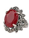 Женский Кольцо Синтетический рубин Pоскошные ювелирные изделия Синтетические драгоценные камни Резина Стразы Серебрянное покрытие