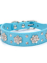 Dog Collar Adjustable / Retractable Strobe/Flashing Rhinestone Rock PU Leather Black Red Blue Pink